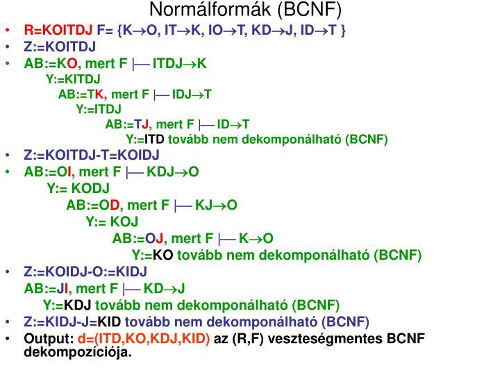 Normálformák (BCNF)