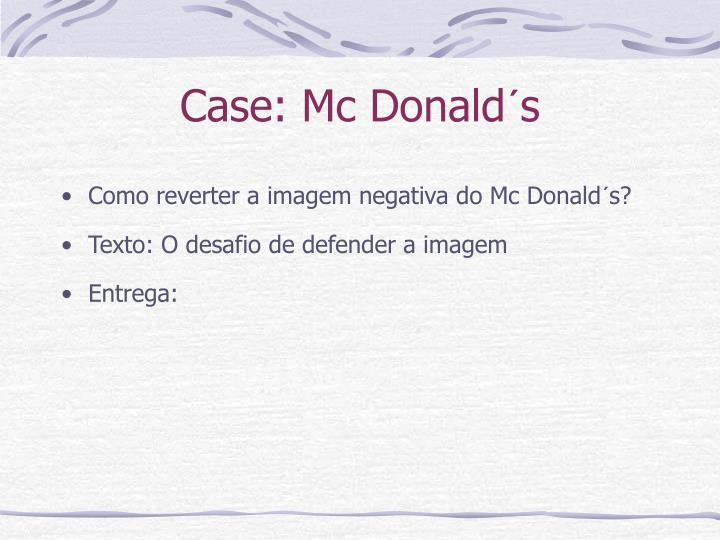 Case: Mc Donald´s