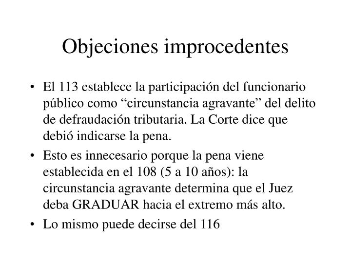 Objeciones improcedentes