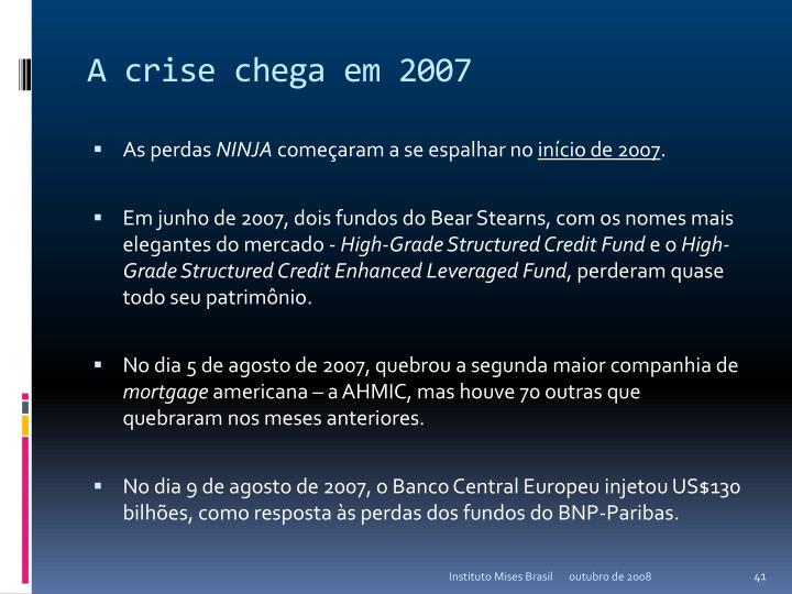 A crise chega em 2007