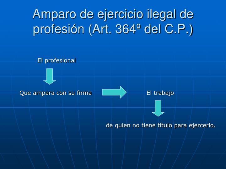 Amparo de ejercicio ilegal de profesión (Art. 364º del C.P.)