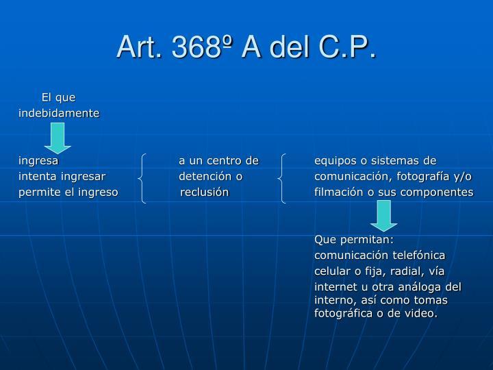 Art. 368º A del C.P.