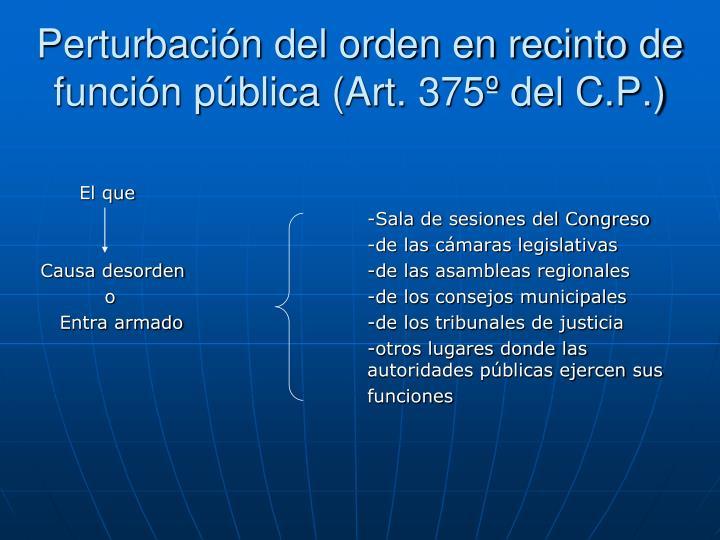 Perturbación del orden en recinto de función pública (Art. 375º del C.P.)