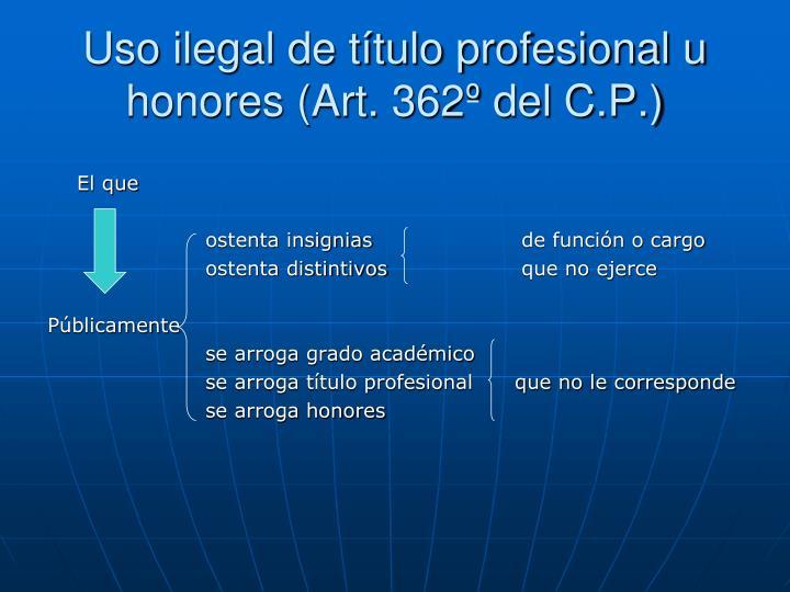 Uso ilegal de título profesional u honores (Art. 362º del C.P.)