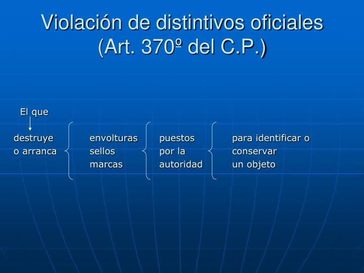 Violación de distintivos oficiales (Art. 370º del C.P.)
