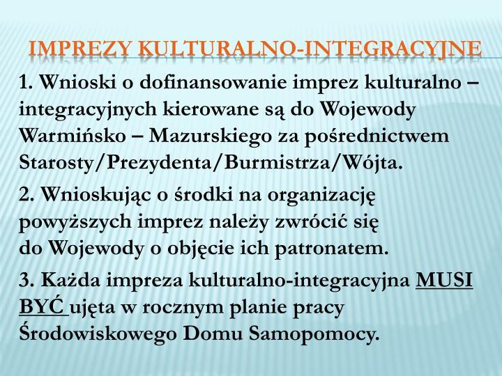 1. Wnioski o dofinansowanie imprez kulturalno – integracyjnych kierowane są do Wojewody Warmińsko – Mazurskiego za pośrednictwem Starosty/Prezydenta/Burmistrza/Wójta.