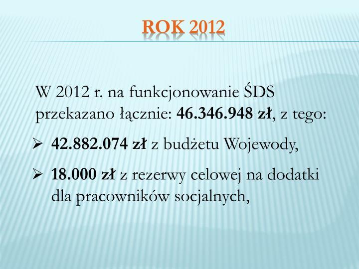 W 2012 r. na funkcjonowanie ŚDS przekazano łącznie: