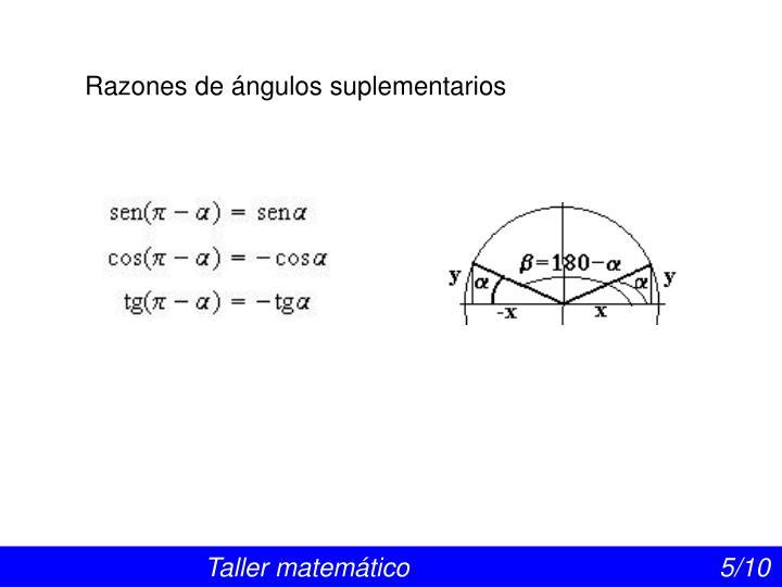 Razones de ángulos suplementarios