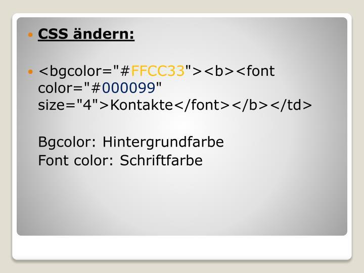 CSS ändern: