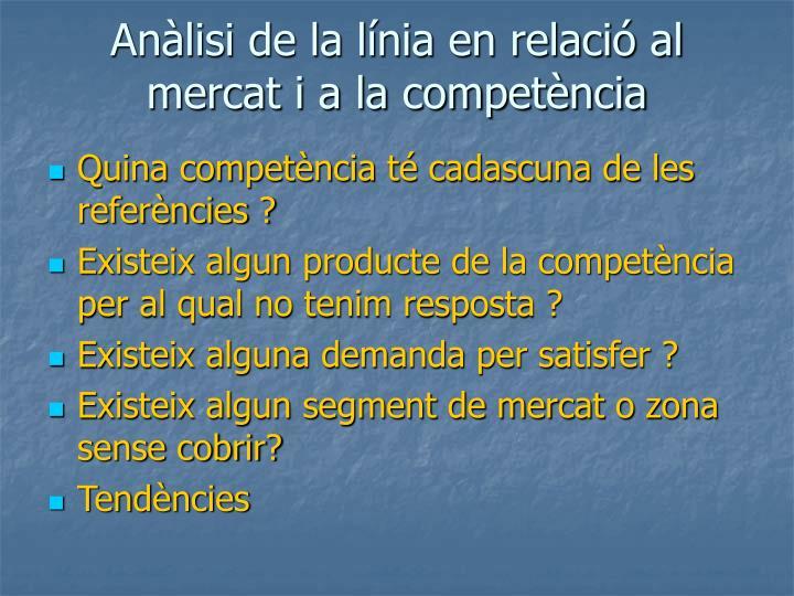 Anàlisi de la línia en relació al mercat i a la competència