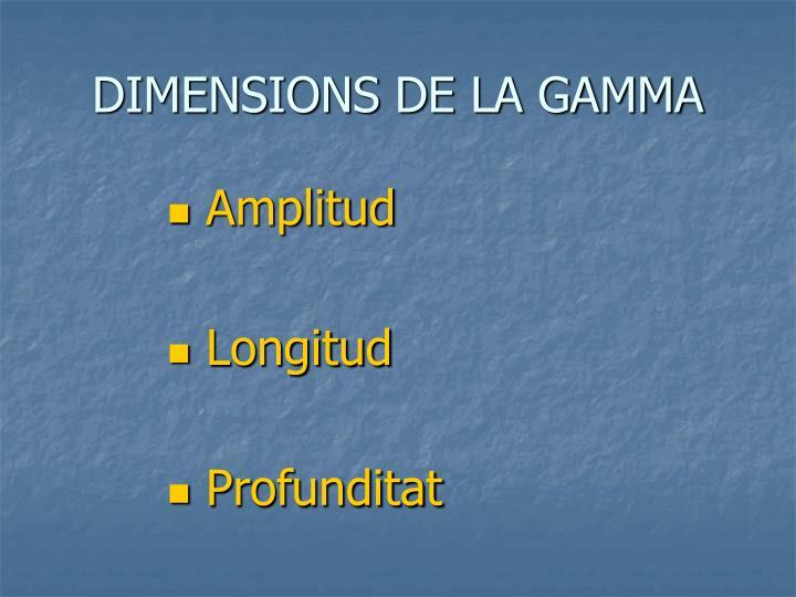 DIMENSIONS DE LA GAMMA