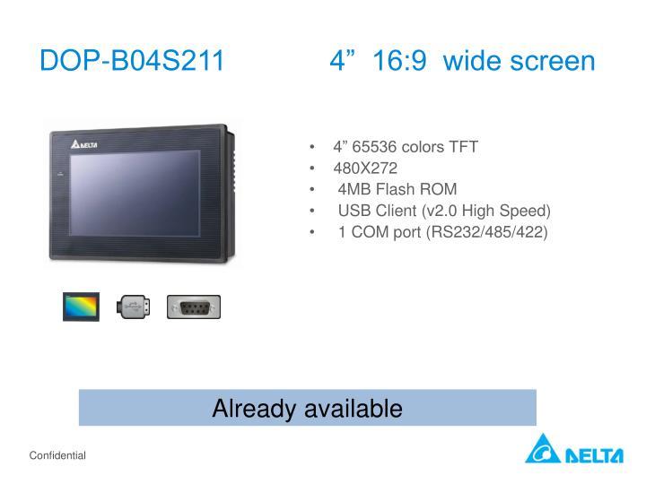"DOP-B04S211             4""  16:9  wide screen"