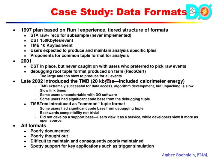 1997 plan based on Run I experience, tiered structure of formats