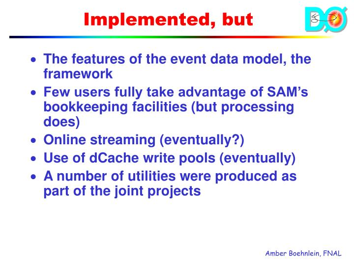 The features of the event data model, the framework