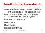 complications of haemodialysis