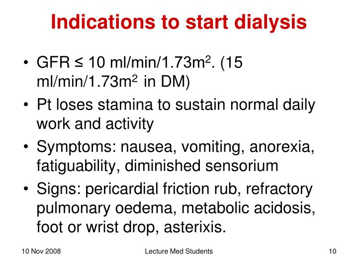 Indications to start dialysis