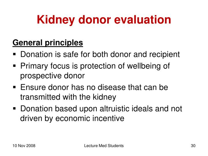 Kidney donor evaluation