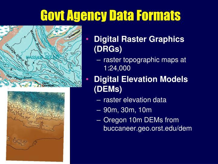 Govt Agency Data Formats