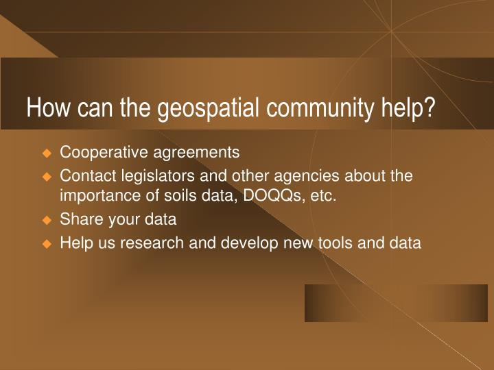 How can the geospatial community help?