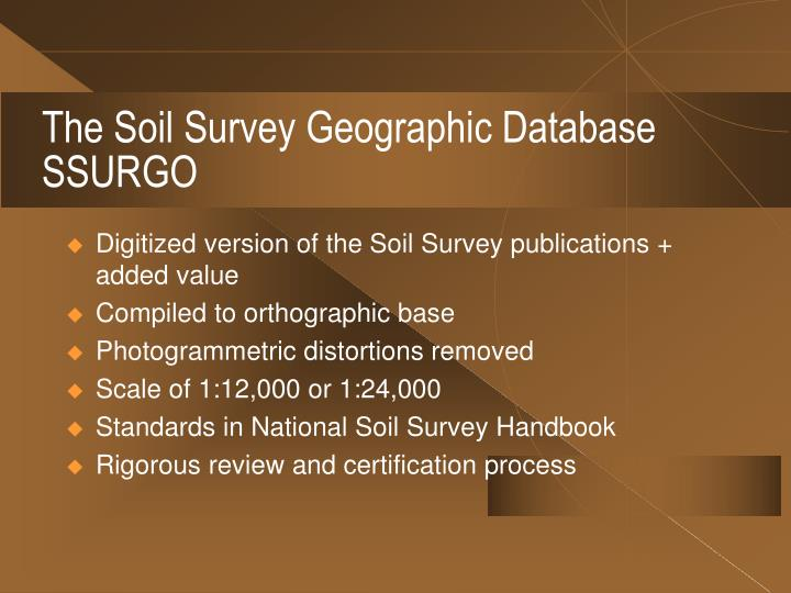 The Soil Survey Geographic Database