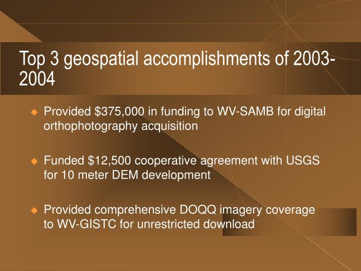 Top 3 geospatial accomplishments of 2003-2004