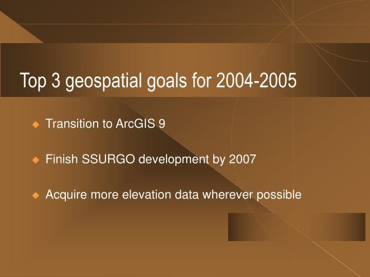 Top 3 geospatial goals for 2004-2005