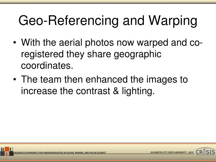 Geo-Referencing and Warping