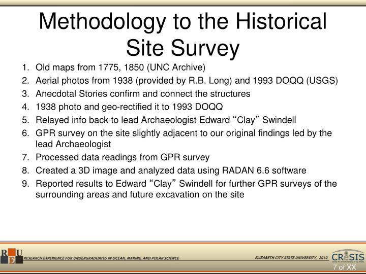 Methodology to the Historical Site Survey