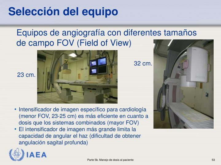 Equipos de angiografía con diferentes tamaños de campo FOV (Field of View)