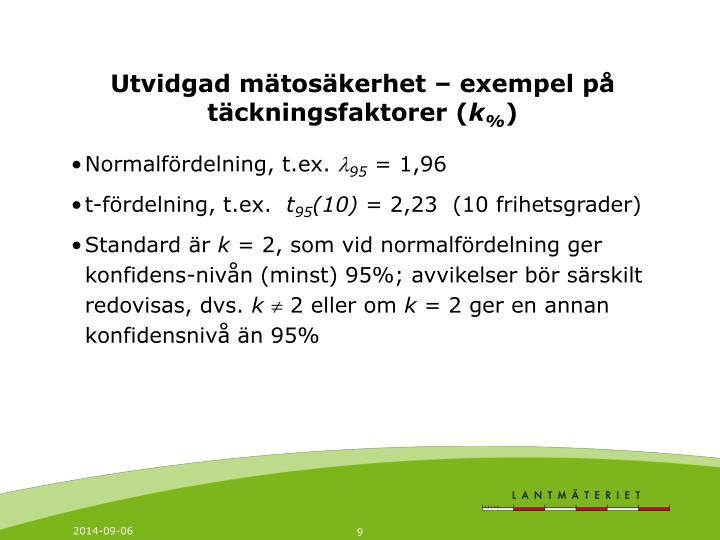 Utvidgad mätosäkerhet – exempel på täckningsfaktorer (