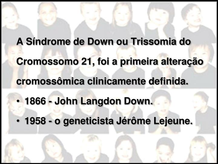 A Síndrome de Down ou Trissomia do