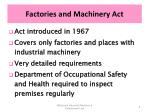 factories and machinery act