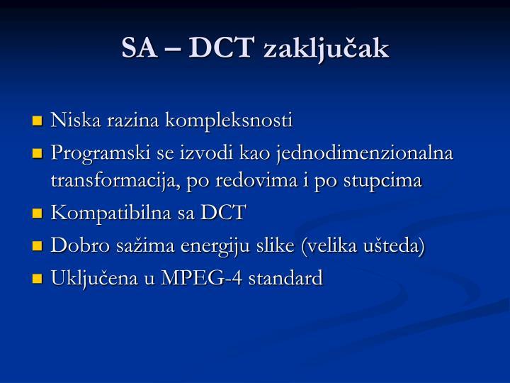 SA – DCT zaključak