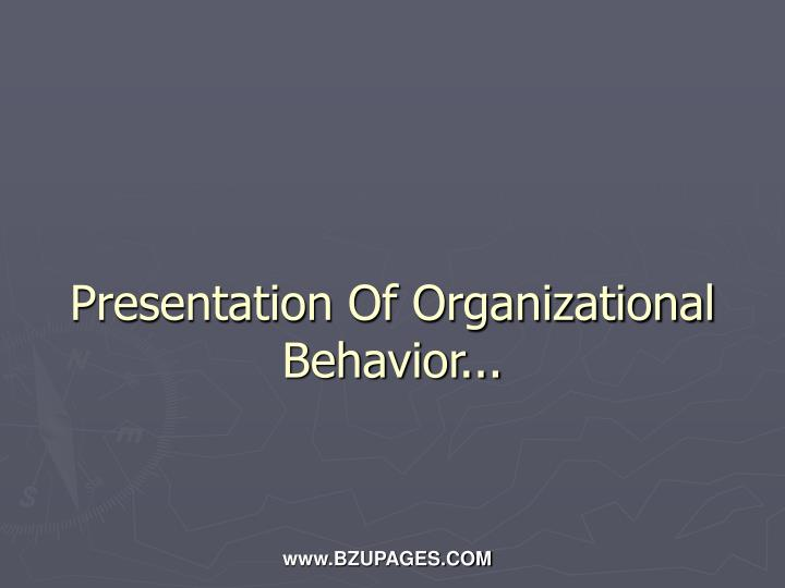 Presentation Of Organizational Behavior...