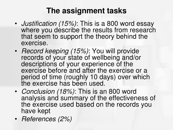 The assignment tasks