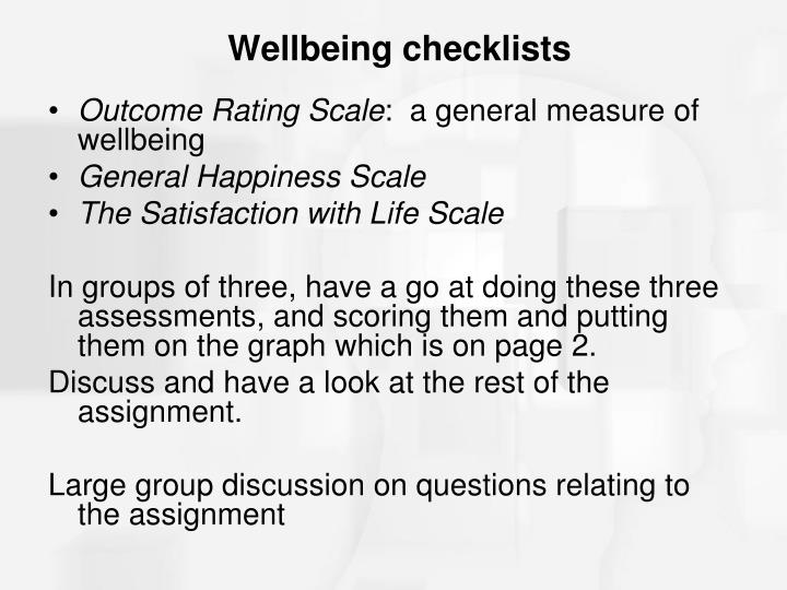 Wellbeing checklists