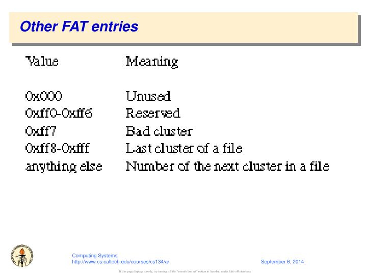 Other FAT entries