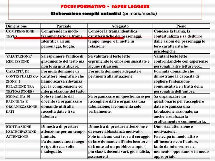 FOCUS FORMATIVO -  SAPER LEGGERE