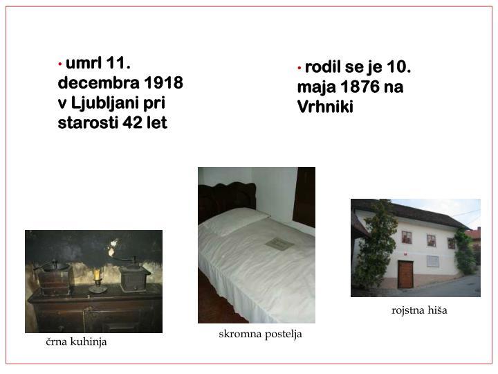umrl 11. decembra 1918 v Ljubljani pri starosti 42 let