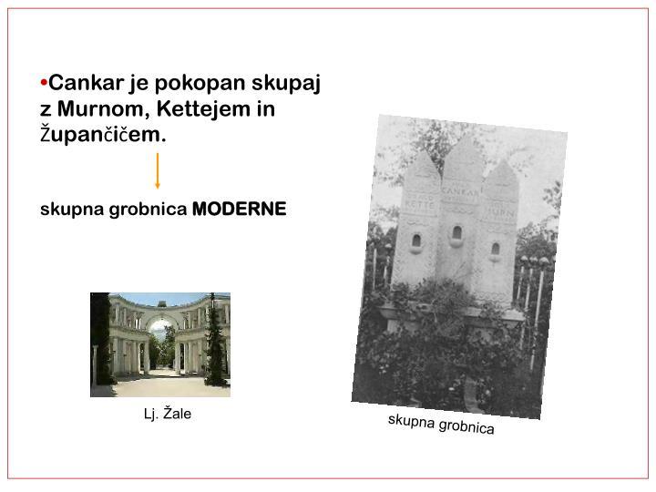 Cankar je pokopan skupaj z Murnom, Kettejem in Župančičem.
