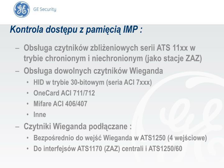 Kontrola dostępu z pamięcią IMP :