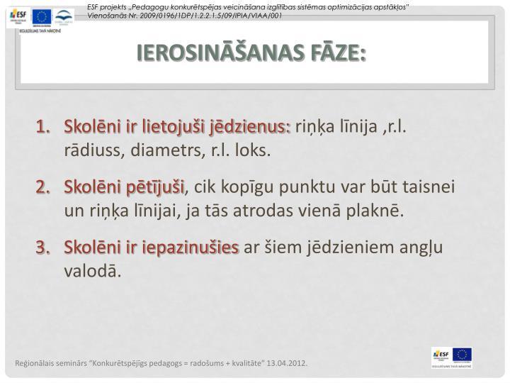 IEROSINĀŠANAS FĀZE: