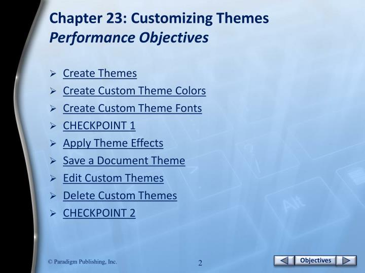 Chapter 23 customizing themes performance objectives