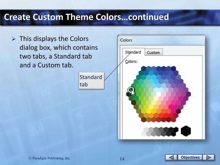 Create Custom Theme Colors…continued