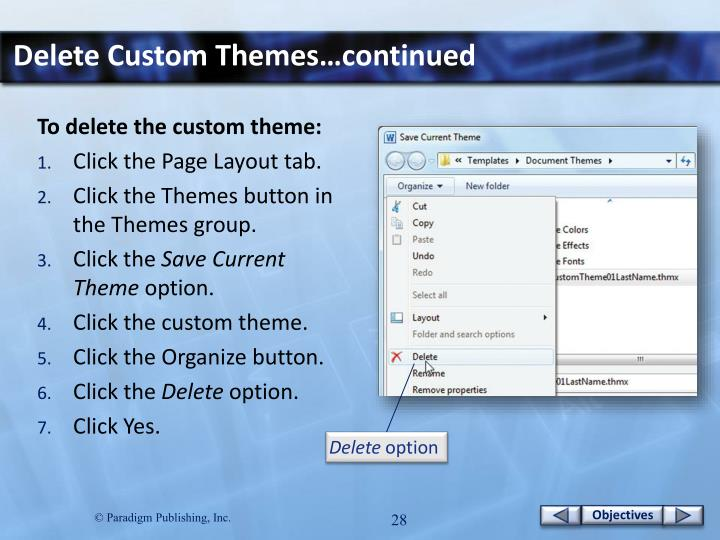 Delete Custom Themes…continued
