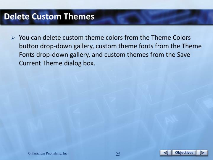 Delete Custom Themes