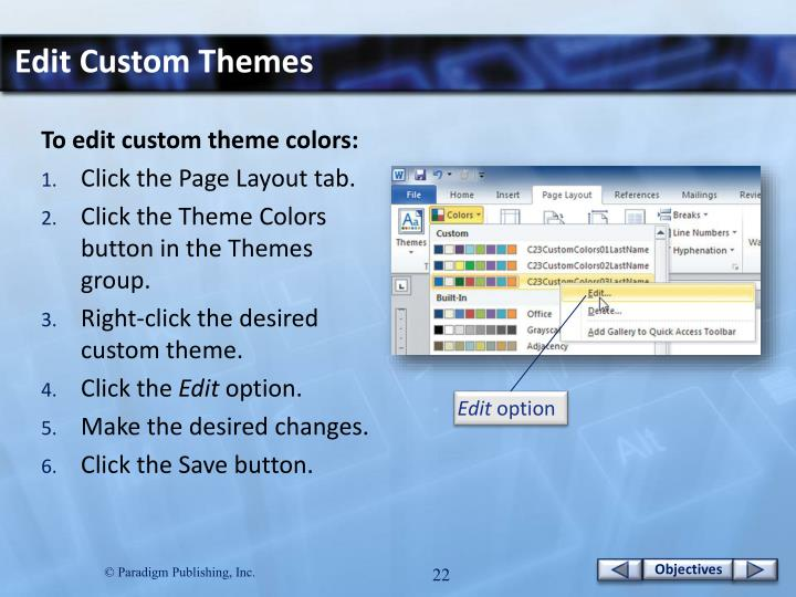 Edit Custom Themes