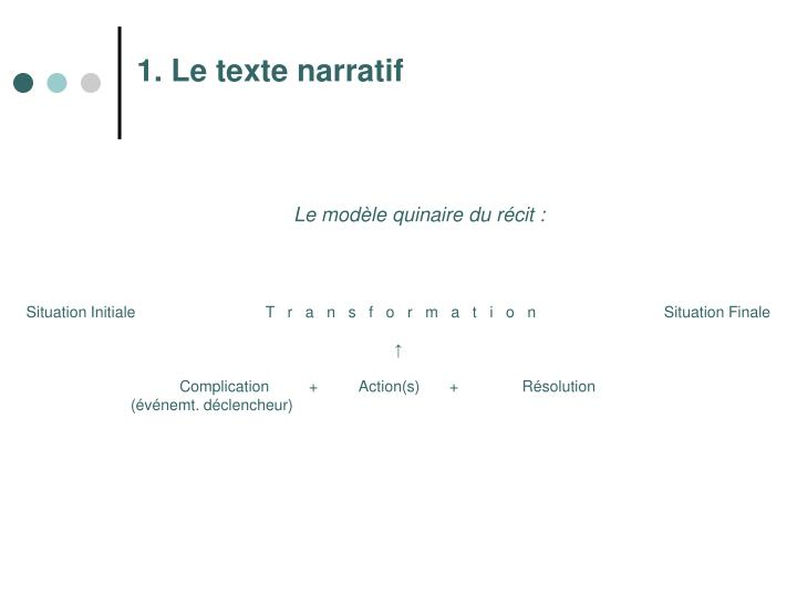 1. Le texte narratif