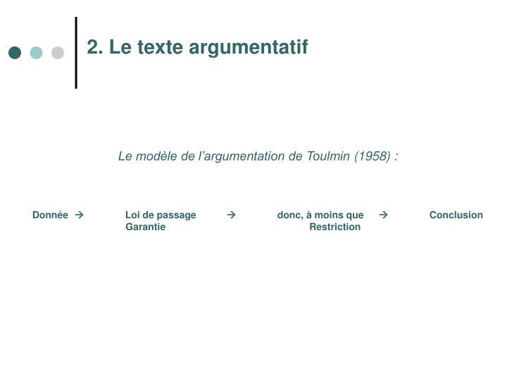 2. Le texte argumentatif