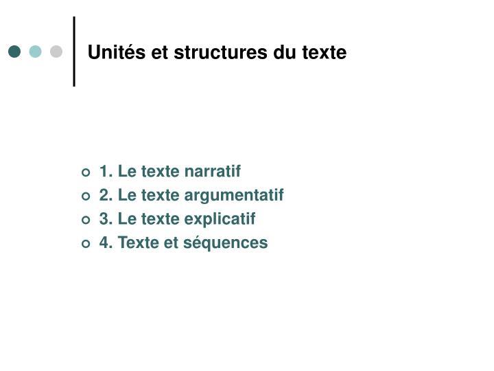 Unités et structures du texte